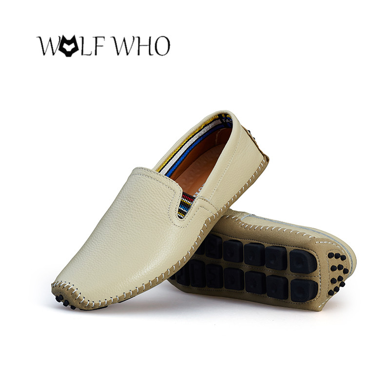 WolfWho Big Size 39-47 High Quality Genuine Leather Men Shoes Soft Moccasins Loafers Fashion Brand Men Flats Comfy Driving Shoes 2017 brand fashion big size 39 44 men loafers high quality men full grain leather shoes luxury soft leather casual men flats