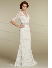 new V-neckline empire waist  3/4 sleeves lace backless key hole sheath lace modest wedding gown bridal dresses