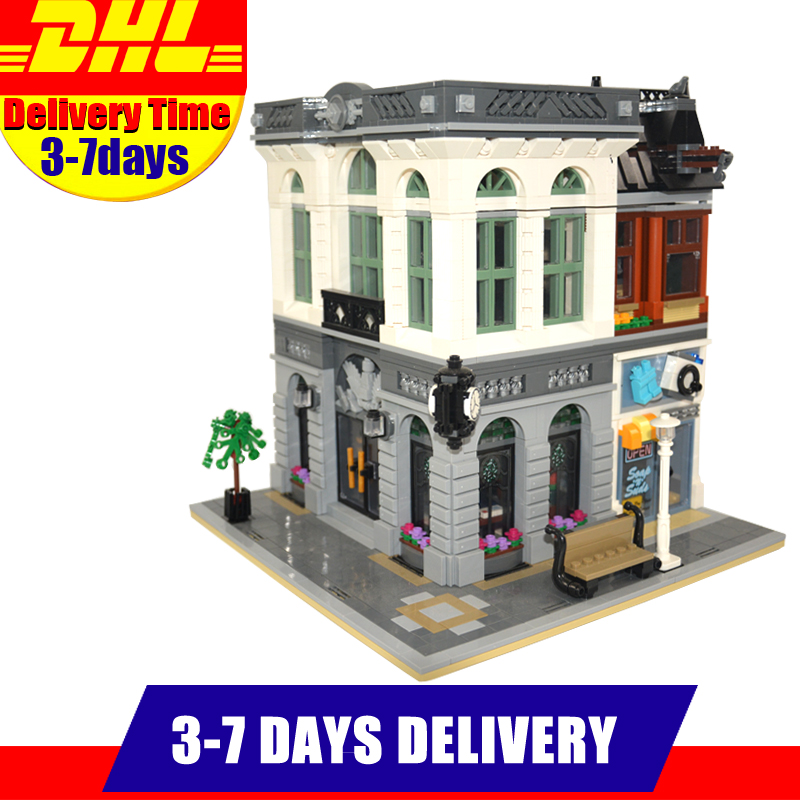DHL LEPIN 15001 City Street Clone  Brick Bank  Building Blocks Toys Modular City Series Model Kids Gift Compatible 10251 lepin17001 city street tai mahal model building blocks kids brick toys children christmas gift compatible 10189 educational toys