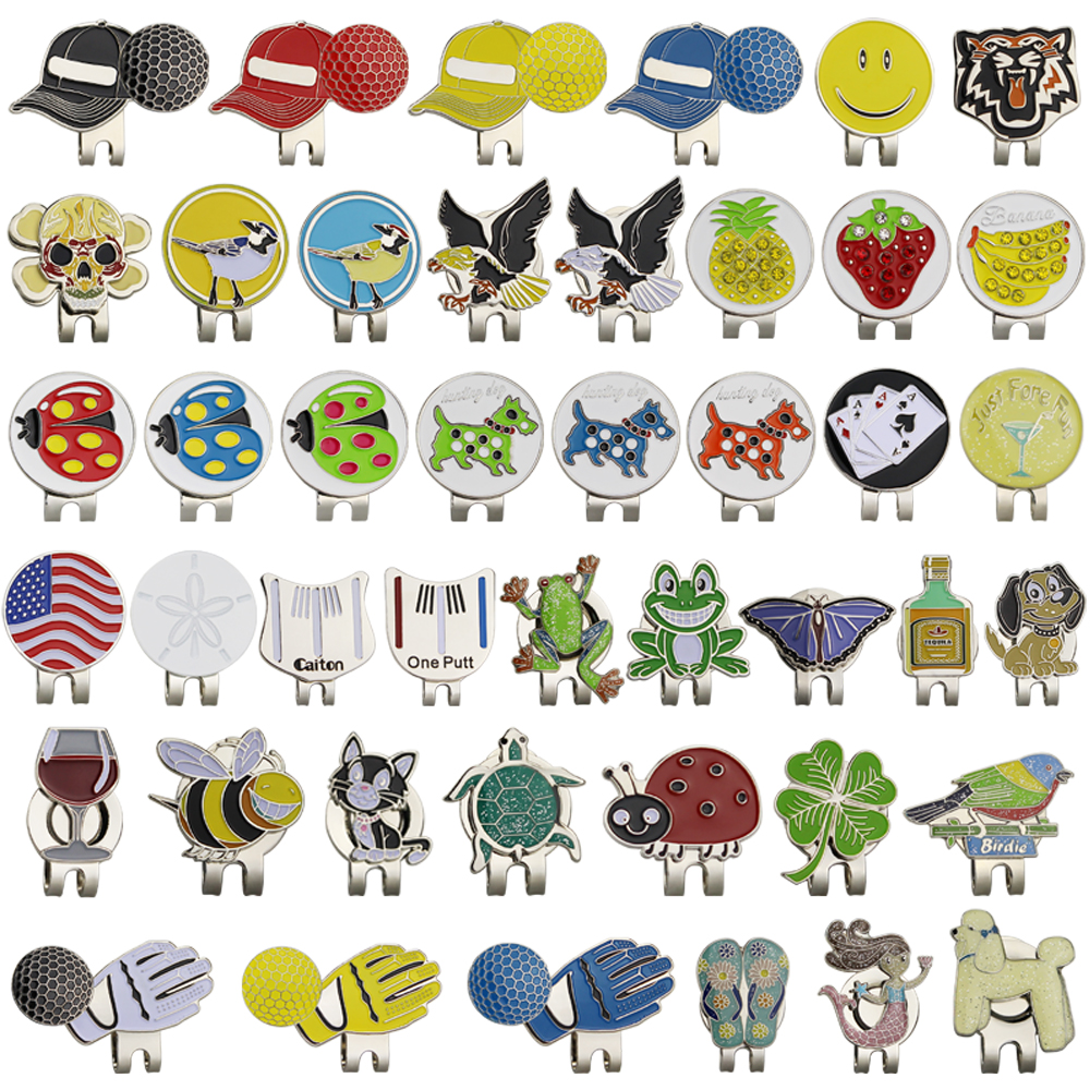 Free Shipping Golf Ball Makers, 47 Kinds For Choice, With Golf Hat Visor Clips, 10 Pcs/lot, Golf Marker, Wholesale Price.