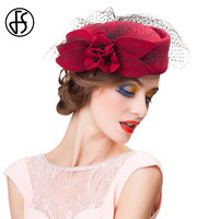 FS Elegant Rose Flower Wool Pillbox Hat With Veil Fascinated Womens Cocktail Hats Wedding Party Royal Ladies Felt Fedoras