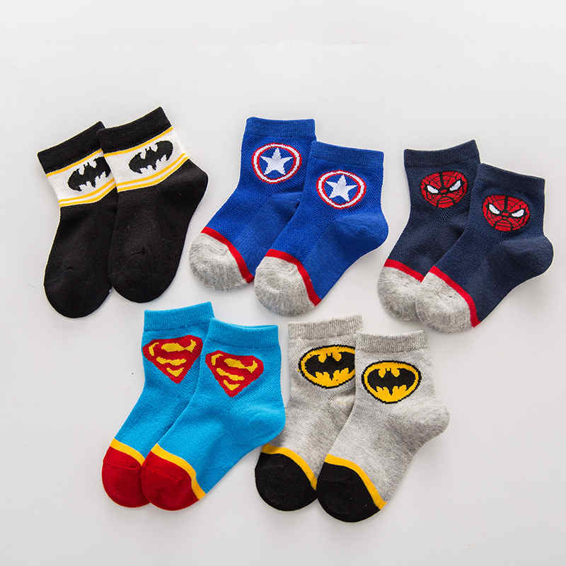 5 Pairs Kids Boys Girls Cotton Socks Summer Thin Breathable Cartoon Superman Spiderman Batman Fashion Baby Socks For 2-10 Years