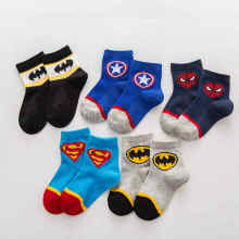 5 пар, носки для маленьких мальчиков и девочек хлопковые носки летние тонкие дышащие Носки с рисунком Superman Spiderman Batman модные детские носочки для На возраст от 2-10 л