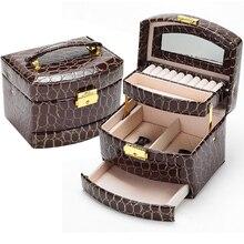 Nueva Moda de las mujeres de piel de Cocodrilo del sector Automático regalo cajas de exhibición de la joyería caja estuche organizador ataúd envío gratis