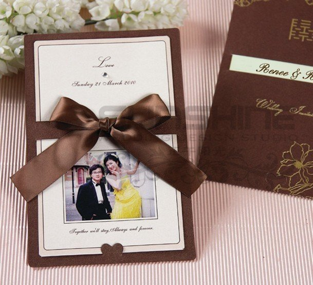 Invitation Card Wedding Cards CM C Brown Color With Ribbon Decoration