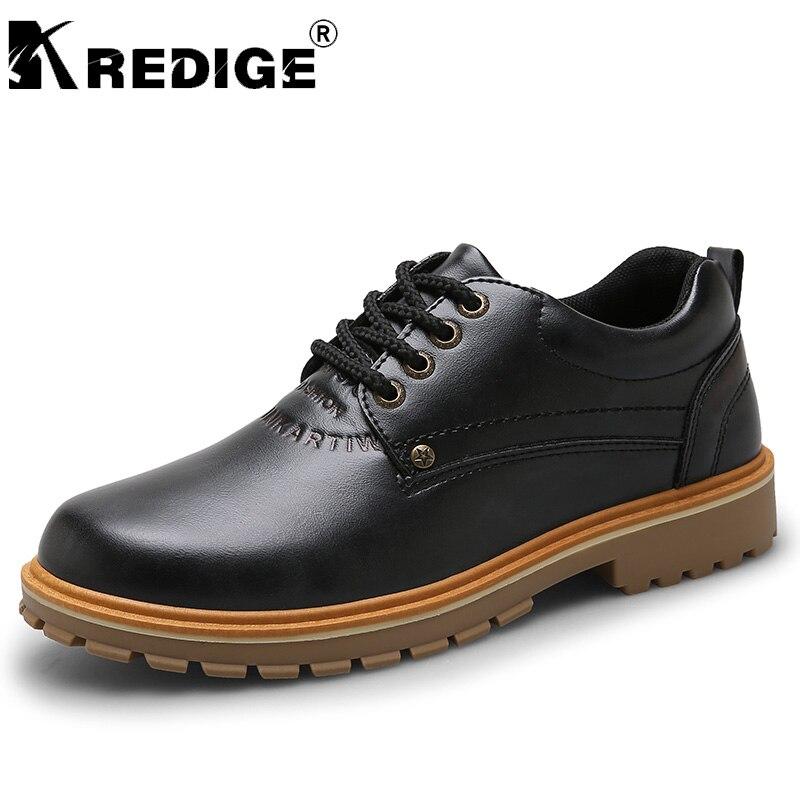Kredige PU Кружево-Up Повседневная обувь на низком каблуке мужские новые дышащие круглый носок туфли в ретро-стиле нескользящей подошвой увеличи...