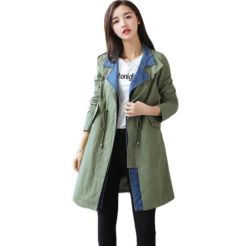 Fashion Casual Women   Trench   Coat Long 2019 Spring Elastic Belt Zipper Pocket Fake Two-piece Female Coat Outerwear Windbreaker