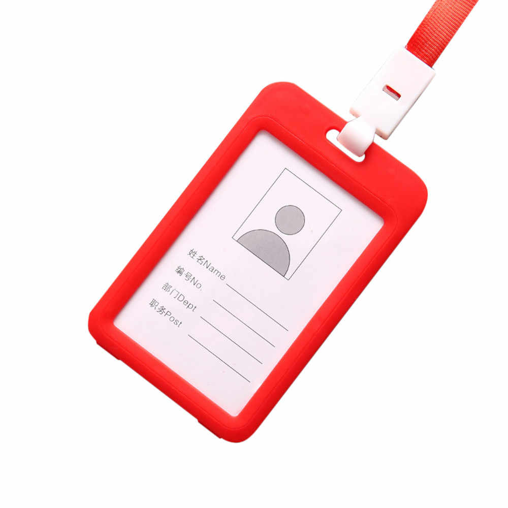 Portable Colorful Employee Plastic ID Card Holder Name Tag Lanyard Neck Strap Number plate office suppliesSeat number plate 5pz