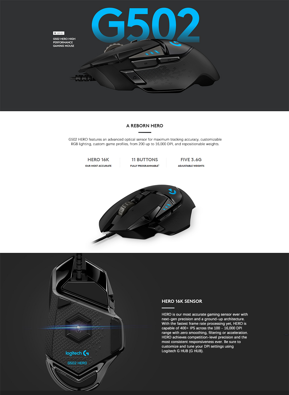 Logitech original G502 HERO High Performance Gaming Mouse 16,000 DPI 11  Customizable Buttons and Onboard Memory G502 RGB upgrade