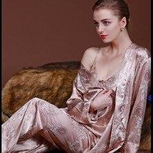 HIMEALAVO 3 Pcs Robe Pajama Pants Sets 2017 New Fashion Ladies Sleep Lo