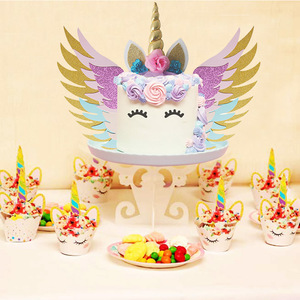 Image 3 - Unicorn Cake Topper Unicornio Horn Ears Cake Decorations Cupcake Toppers Baby Shower Birthday Party Supplies Baking Tools