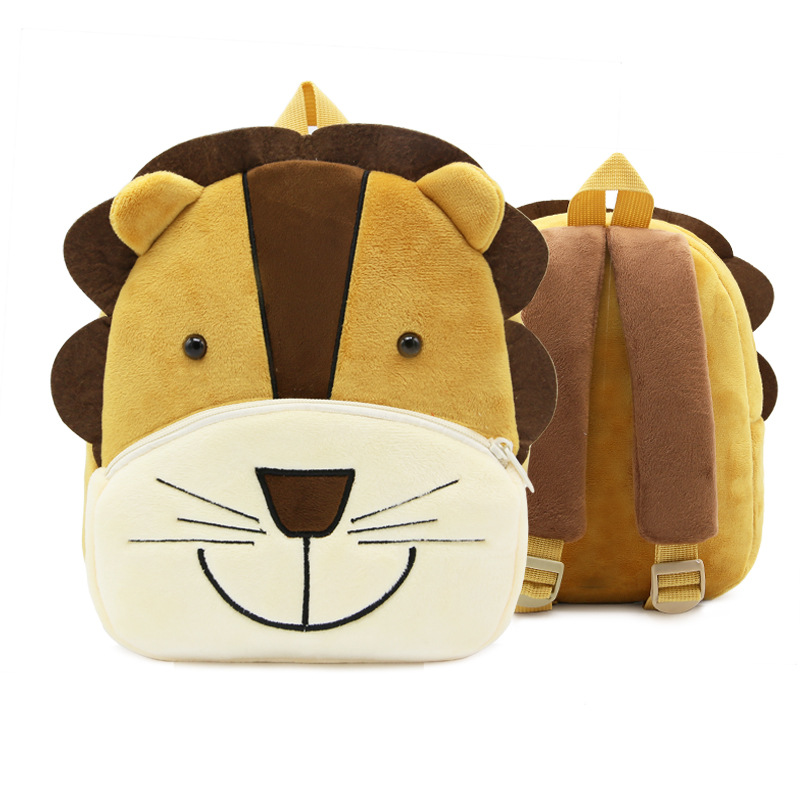 Cartoon Animal Lion Soft Plush Backpack Children kindergarten Schoolbag Kids Baby School Bags Girls Boys Backpacks girls animal school bags backpack 3d dinosaur backpack for boys children backpacks kids kindergarten small schoolbag