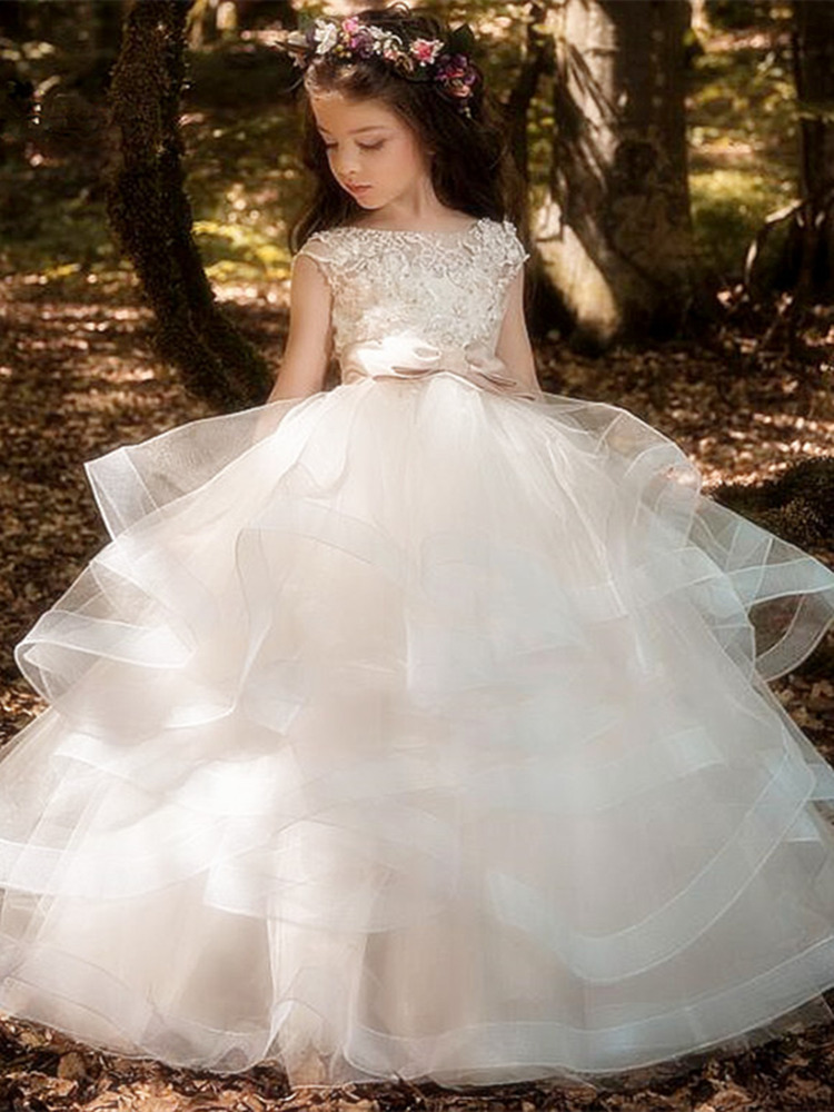 Girls Lace Embroidered Party Princess Tulle Pageant Fancy Bridesmaid Dress ZG8