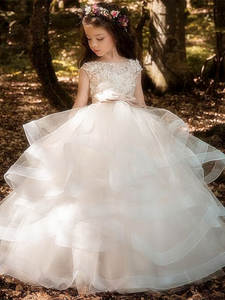 17bb72abea1 Pageant-Gowns Flower-Girl-Dresses Weddings Champagne Elegant Kids  Sleeveless Lace