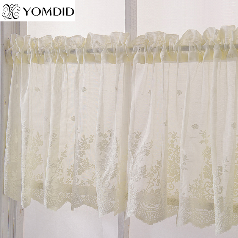 kitchen beige color rod curtain for living room jacquard decor curtain printed curtains