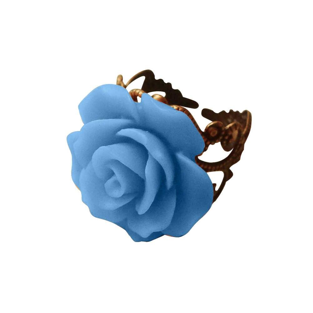 القوطية نمط خمر مجوهرات ريترو خواتم للنساء موضة ملونة روز الجوف خارج زهرة مقاومة البنصر القوطية