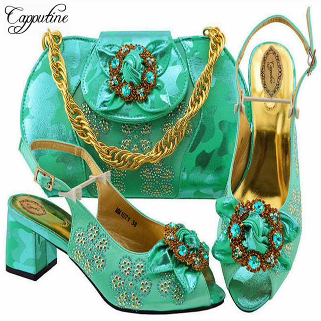 Capputine 2018 Nice Newest Design Sandals Shoes With Bag Set Italian  Elegant High Heels Woman Shoes And Bags Set For Party 230eff78bb3a