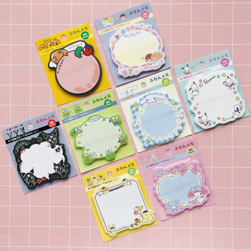 30 Pages /Pack Gudetama Melody Kuromi Frog Dog Twin Stars  Memo Pads Sticky Notes  Student Stationery