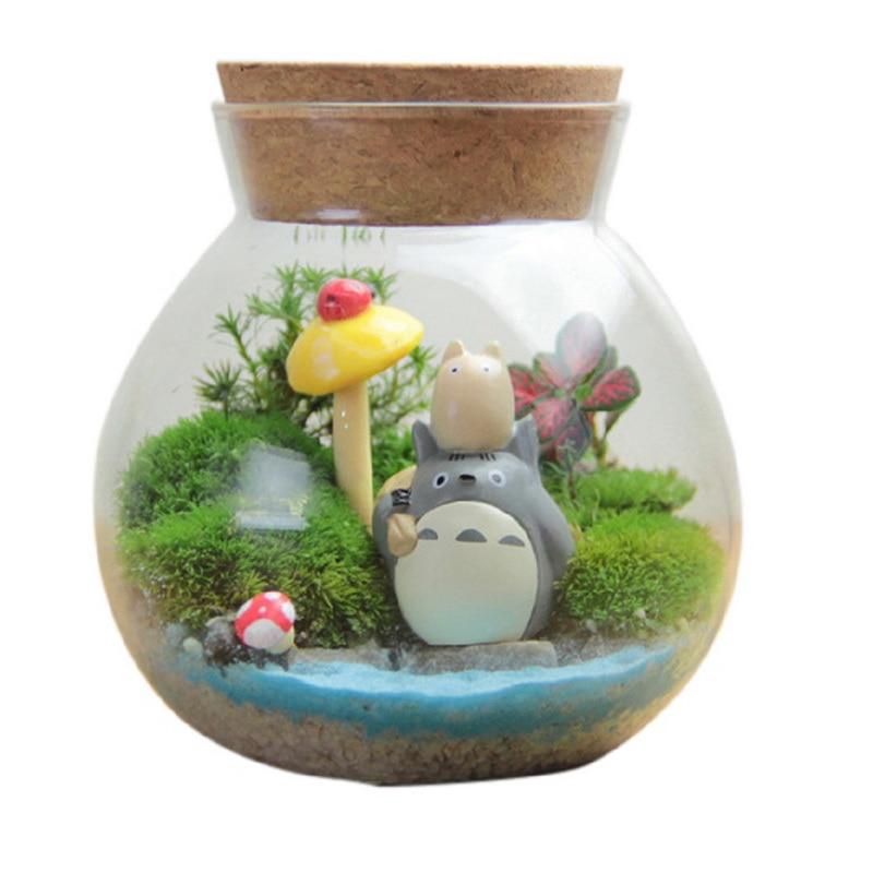 1pc Creative Glass Cork Plug Sealed Cans Tea Caddy Flower Tea Tank Candy Jar Micro Landscape Bottle