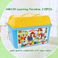 115 pcs Qualidade Grandes Blocos de Construção de Auto-travamento Tijolos Brinquedos Educativos Brinquedos Do Bebê para Crianças Dom Compatível com Legoed Duploe