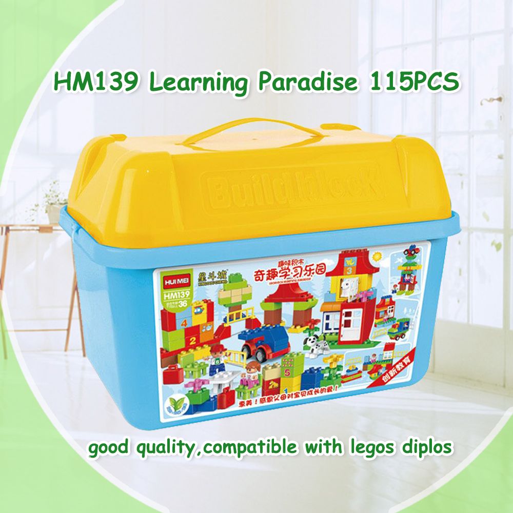 115pcs Quality Big Building Blocks paradise Self-locking Bricks Educational Toys Baby Toys Children Gift Compatible with Duplo 100pcd pack children snowflake match building blocks colorful self locking bricks 3 5cm big plastic blocks kids educational toys