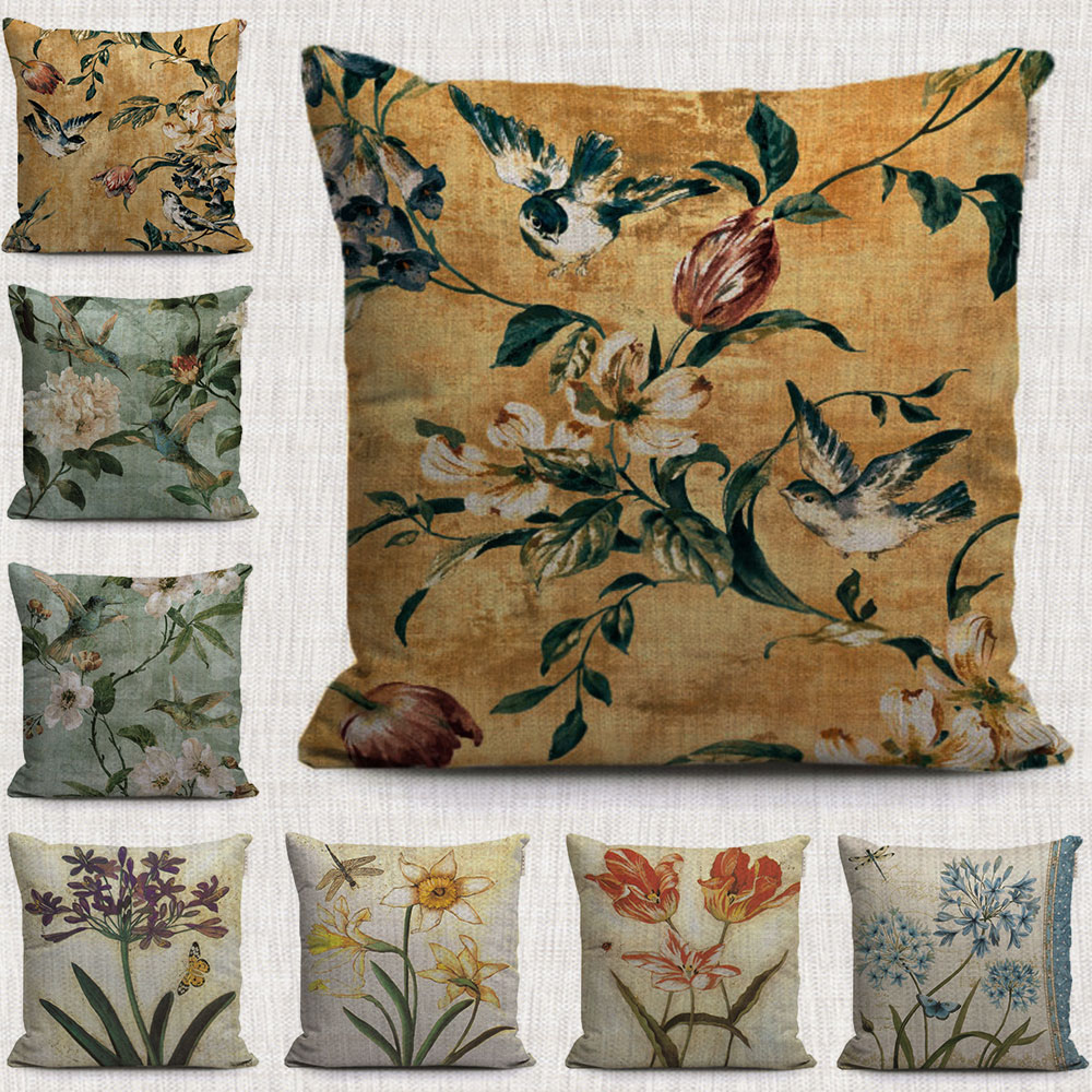 Cuscini Eleganti Per Divani.Vintage Magnolia Giglio Fiori Decorativi Cuscini Casi Farfalla