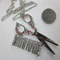 XQ Free shipping 2015 Europe and the United States foreign jewelry silver comb barber scissors sweater Long Necklace