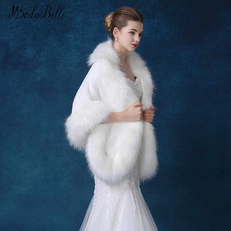 Modabelle Inverno Più Il Formato Faux Fur Da Sposa Mantello Bianco di Pelliccia Da Sposa Bolero Wrap Partito di Sera di Spalla Dello Scialle Bolero Mariage