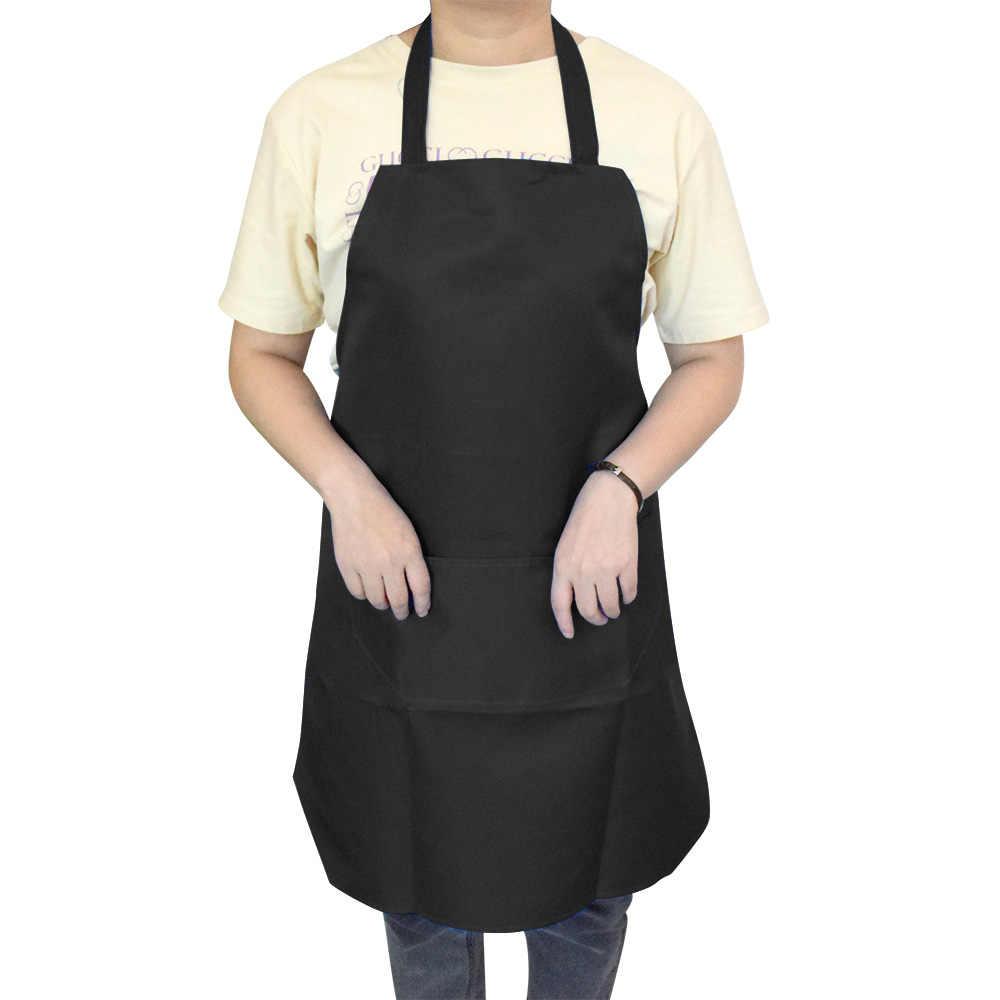 純粋な色クッキングエプロン女性男性キッチン厚み家庭用クリーニングエプロン綿ポリエステルダブルポケット Dropshiping
