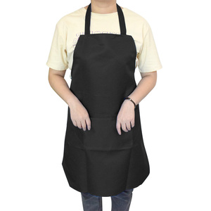 Image 5 - Pure color Cooking Apron For Woman Men Kitchen Thicken Household Cleaning Apron Cotton Polyester with Double Pocket Dropshiping