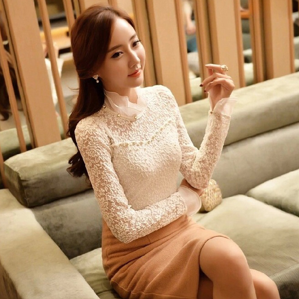 Summer Women Fashion Plus Size Crochet Hollow Out Lace Blouse Long Sleeve Ruffled Slim Tops Shirts Blusas Femininas