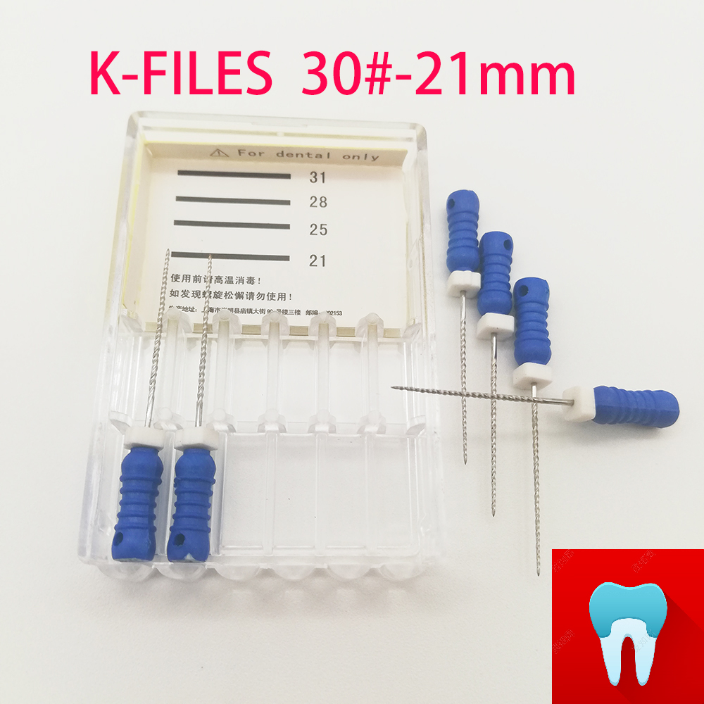 6pcs/pack #30-21mm Dental K Files Root Canal Dentistry Endodontic Instruments Dentist Tools Hand Use Stainless Steel
