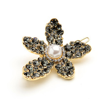 CHIMERA Crystal Flower Hair Clips Elegant Alloy Rhinestone Barrettes Women Pins Jewelry Wedding Side for Ladies
