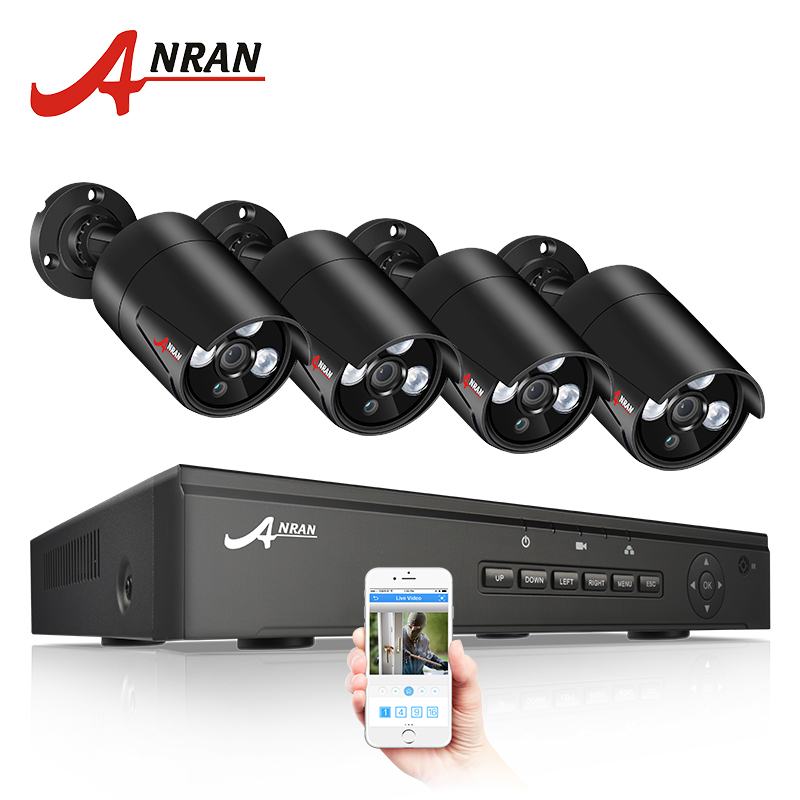 ANRAN CCTV Camera System POE 4CH NVR Kit 48V Onvif 1080P Security Camera System HD IP