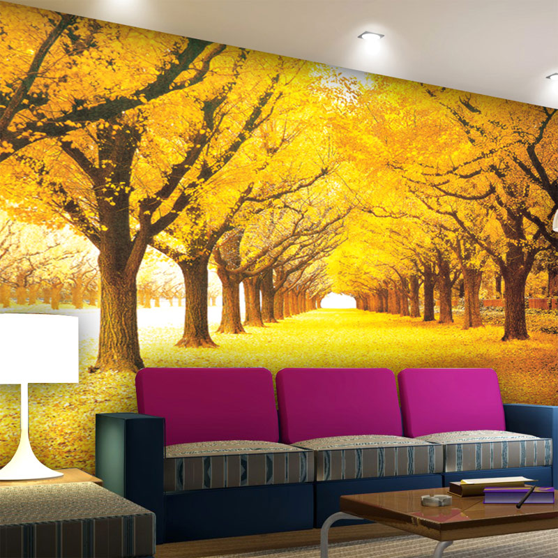 Custom 3d wall mural wallpaper modern gold tree leaves for Custom wall mural