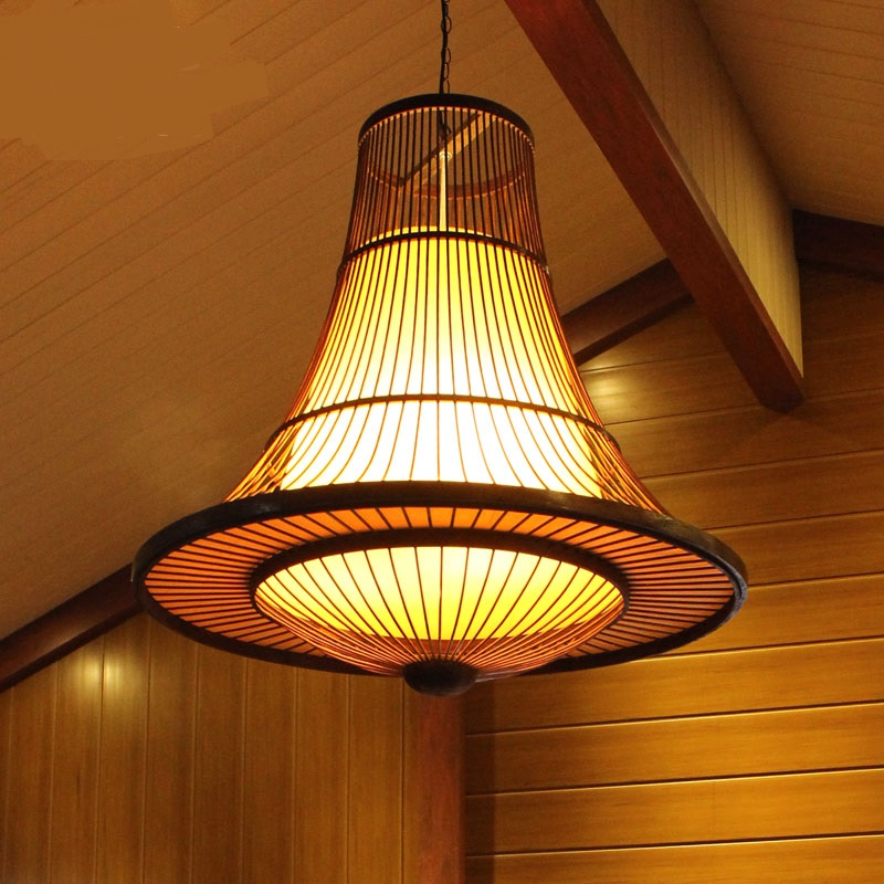 Chinese wood pendant light restaurant  villas living room Southeast hotel lights pendant lamps ZA8819 bamboo southeast asian chinese restaurant led lamp wood engineering ceiling wooden lamp light hotel pendant lights za zb32