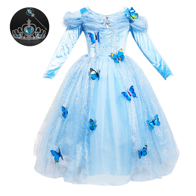 1d3f314ce984 Girls Princess Birthday Dresses for Toddlers 3-12 Years Old Light Blue Long  Sleeved Girls Fancy Dress Carnaval Costumes for Kids