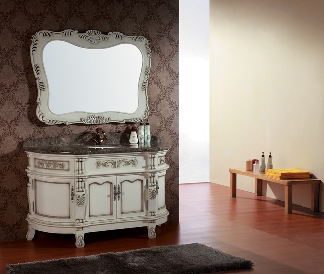Witte massief houten kast badkamer vanity uit China 0281 in Witte ...