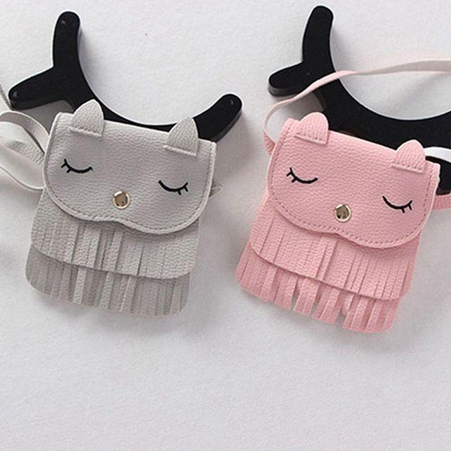 Lovely Children Tassel Small Cat Shoulder Messenger Bag Cute Girls Mini Coin Bag Purses PU Leather Handbags Wallet
