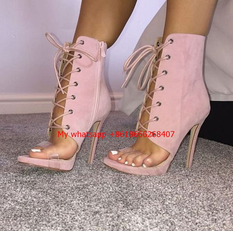 Sexy Pink PU Suede Women Sandals Thin High Heels 11 CM Gladiator Bandage Cross Tied Fashion Summer Party Femme Shoes