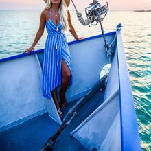Women's Striped V-Neck High Waist Slit Sleeveless Dress Lace Up Irregular Sling Holiday Sundress Summer Beach Clothes S-XL Size stylish plunging neck sleeveless solid color lace up high slit women s maxi dress