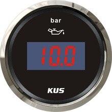 52 мм цифровой датчик давления масла Датчик давления топлива 0-10 бар черная Лицевая панель для автомобиля грузовика универсальная лодка яхта