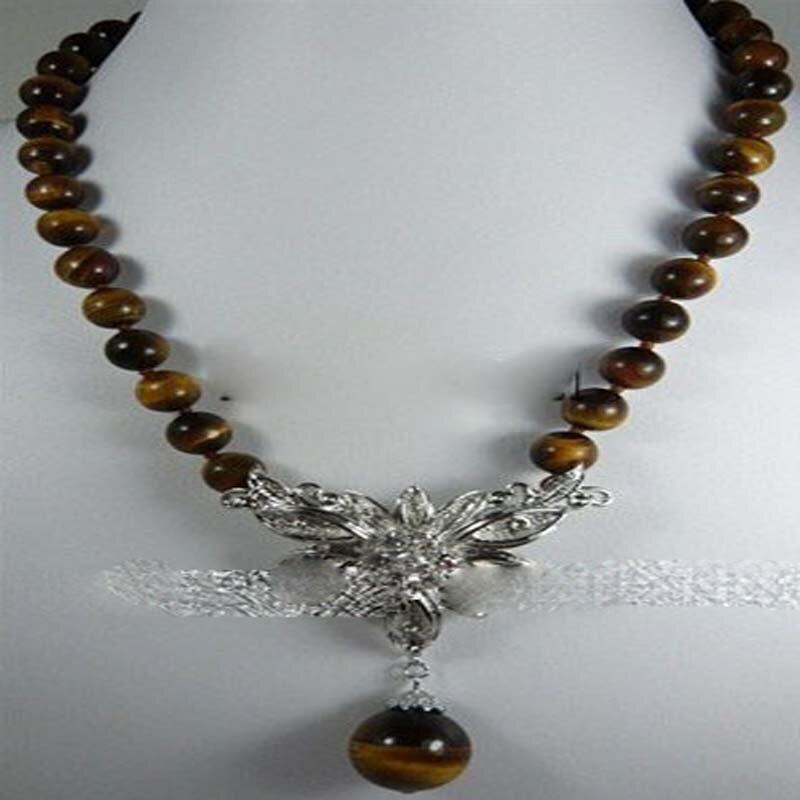 Nouveau collier pendentif en argent avec œil de tigre africain de 10mm