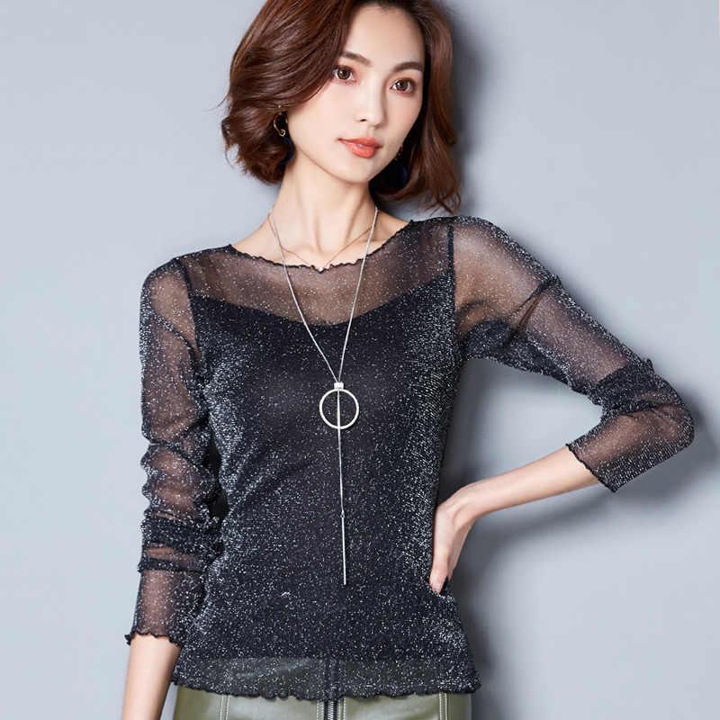 2019 блестящая сетчатая блузка, сексуальные женские Рубашки, Топы с длинным рукавом, Корейская черная розовая элегантная тонкая блуза с круглым вырезом, Camisas Femininas