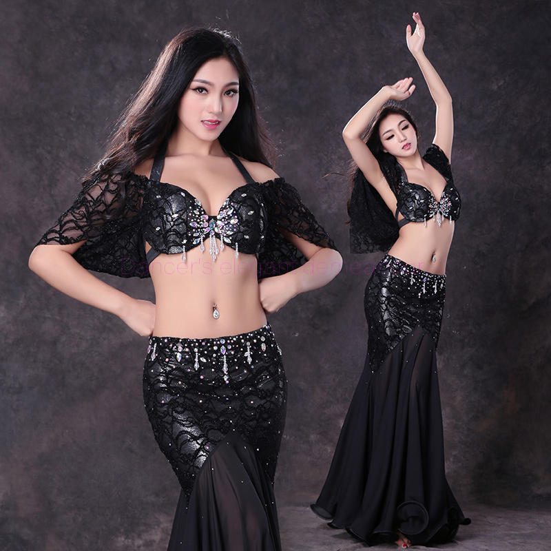 NEW! Lace Belly Dance Costumes Senior Half Sleeves Top+long Skirt 2pcs Belly Dance Set For Women Belly Dance Style Suits S M L