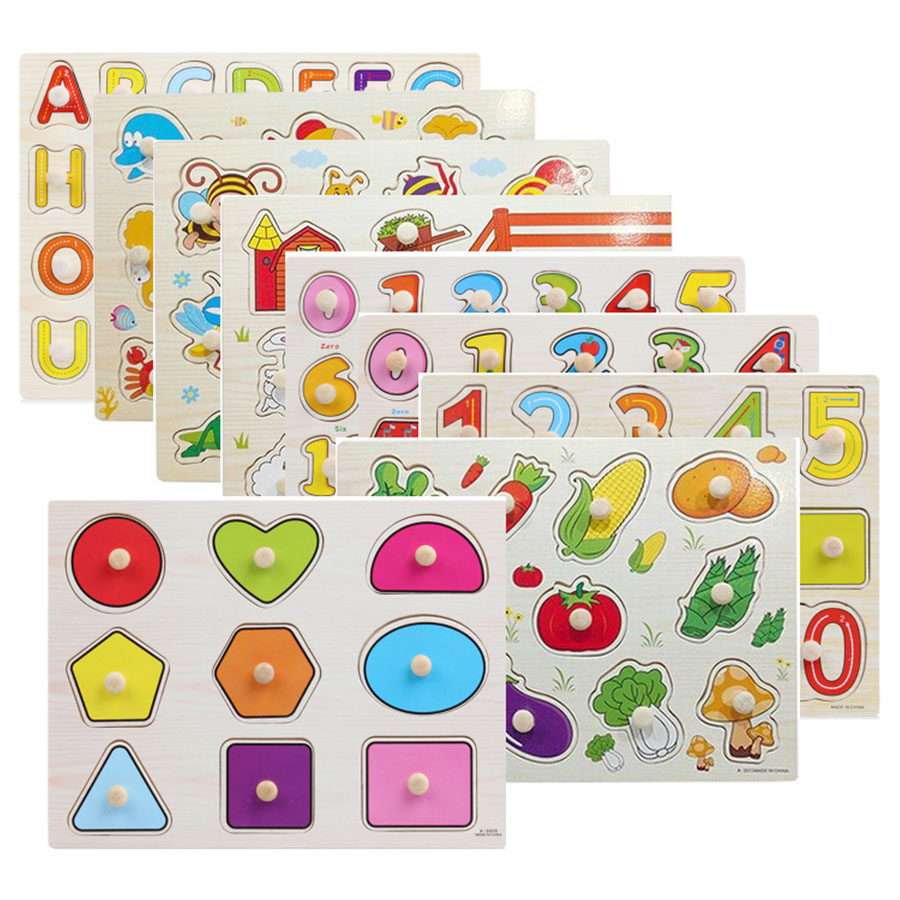 30cm Kid Early Educational Toy Baby Hand Grasp Wooden Puzzle Alphabet & Digit Learning Education Wood Jigsaw Toy for Children цена