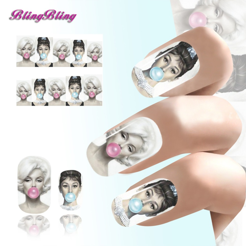 Blingbling 2PCS Audrey Hepburn Design Nail Art Tips Sexy Beauty Water Decals Nail Sticker Manicure Nail Wraps Decorations 1pcs water nail art transfer nail sticker water decals beauty flowers nail design manicure stickers for nails decorations tools