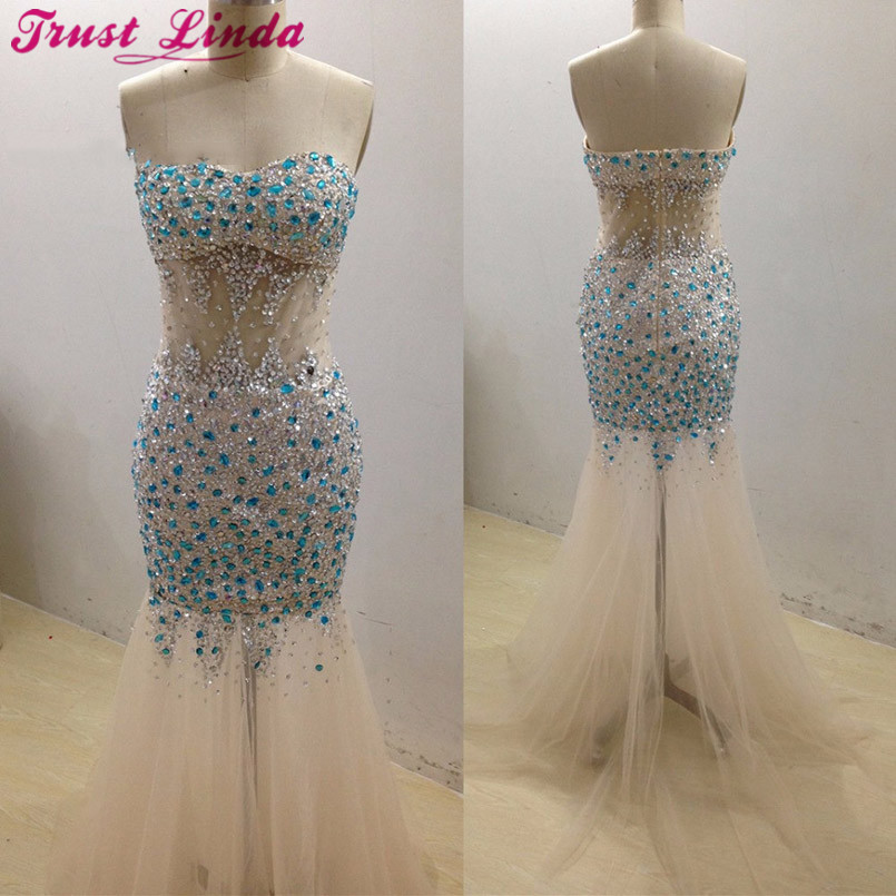 Saudi Arabia Real Sample Rhinestone Beaded Mermaid   Bridesmaid     Dresses   Sweetheart Champagne Tulle Long Luxury Prom   Dress   2018