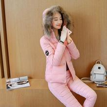 2017 New Winter jacket  women Autumn or Spring Warm Plus Size Fashion Parka Coat + Pants 2 Piece  women jacket 9938