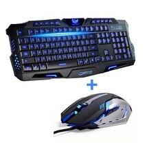 Tri Color LED Backlit Professional  Gaming Keyboard  Gaming Keyboard Mouse Combo 6 Color Backlight Gaming Mouse for PC Desktop